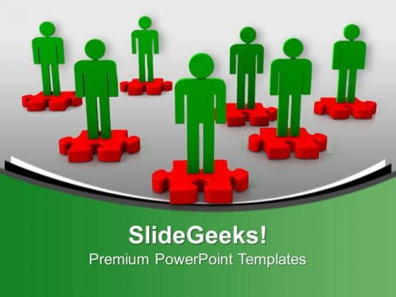 Team On Puzzles Teamwork PowerPoint Templates And PowerPoint Themes 1012