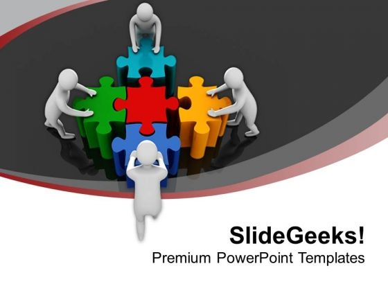 Team Pushing Colorful Puzzles Teamwork PowerPoint Templates Ppt Backgrounds For Slides 0213