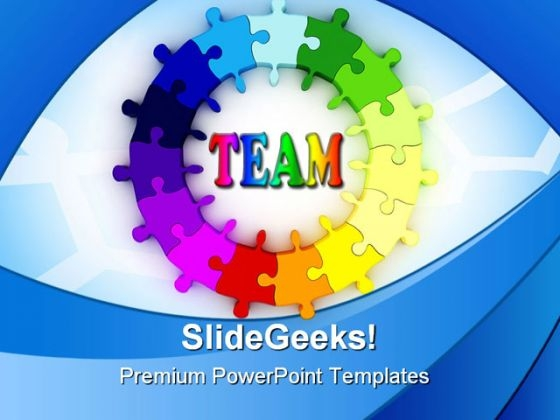Team Puzzle Chart Metaphor PowerPoint Themes And PowerPoint Slides 0311