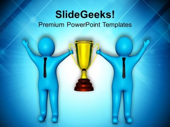 Team Winning Golden Trophy In Competition PowerPoint Templates Ppt Backgrounds For Slides 0713