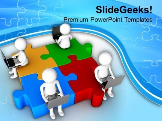Teamwork Concept Online Business Solutions PowerPoint Templates Ppt Backgrounds For Slides 0813