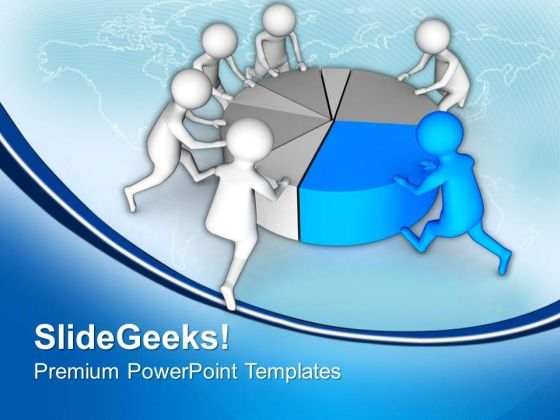 Teamwork To Make A Pie Chart Powerpoint Templates Ppt Backgrounds