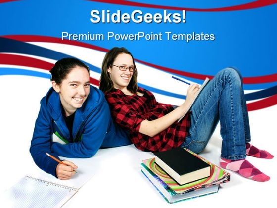 Teen Girls Doing Homework Education PowerPoint Templates And PowerPoint Backgrounds 0311