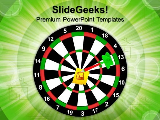 The Darts Hit The Target House PowerPoint Templates And PowerPoint Themes 1012