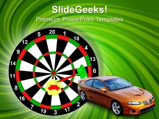 The Darts With The Car As Target PowerPoint Templates And PowerPoint Themes 1012
