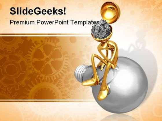 Thinker Gear People PowerPoint Template 0910