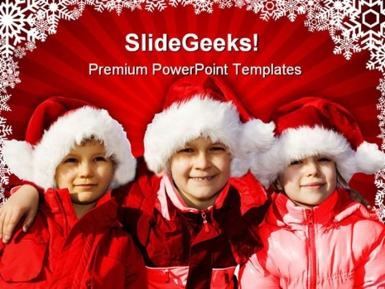 Three Children Christmas PowerPoint Themes And PowerPoint Slides 0811