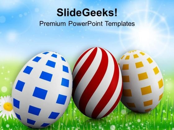 Three Different Colored And Easter Eggs PowerPoint Templates Ppt Backgrounds For Slides 0313