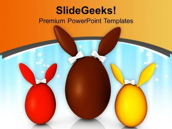 Three Different Colored Bunny Eggs PowerPoint Templates Ppt Backgrounds For Slides 0813