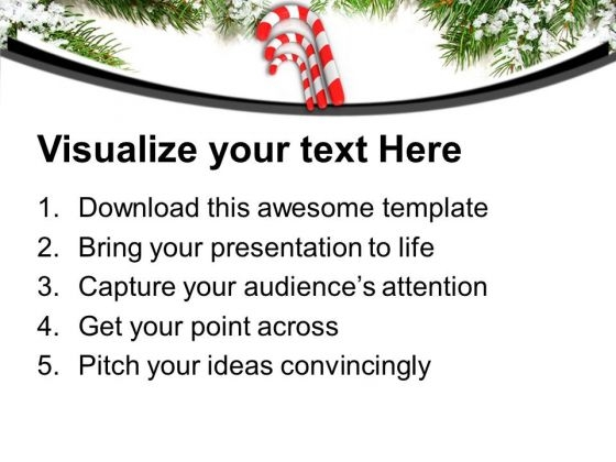 Three Red Candy Cane On Beautiful Background Powerpoint Templates