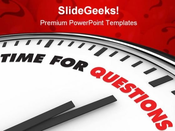 Time For Questions Clock Business Template 1010