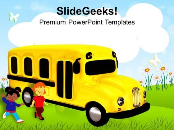 Time To Go School In Bus PowerPoint Templates Ppt Backgrounds For Slides 0313