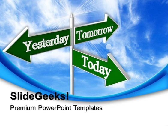 Today Tomorrow Signpost Future PowerPoint Templates And PowerPoint Themes 0512