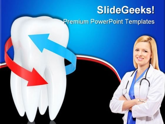 Tooth With Blue And Red Arrows Dental PowerPoint Themes And PowerPoint Slides 0411
