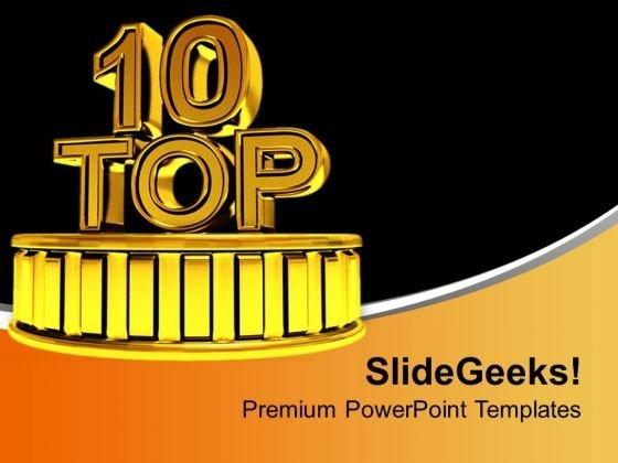 Top 10 Golden Podium Winners Time PowerPoint Templates Ppt Backgrounds For Slides 0313