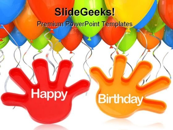 Toy Hands Wishing With Balloons Entertainment PowerPoint Themes And PowerPoint Slides 0511