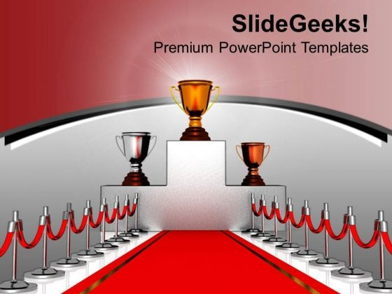 Trophies On Podium With Red Carpet PowerPoint Templates Ppt Backgrounds For Slides 0213