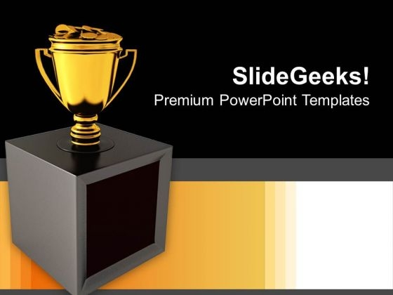 Trophy Cup Full Gold Coins Prize Success PowerPoint Templates And Themes 1112