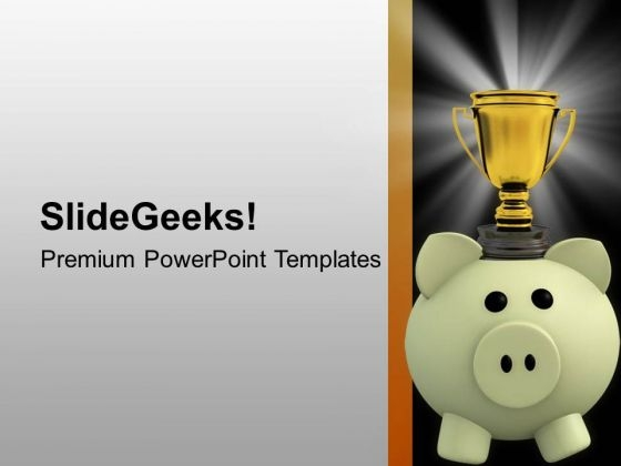 Trophy On Piggy Bank PowerPoint Templates Ppt Backgrounds For Slides 0713