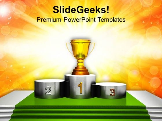 Trophy On Winner Podium PowerPoint Templates Ppt Backgrounds For Slides 0213