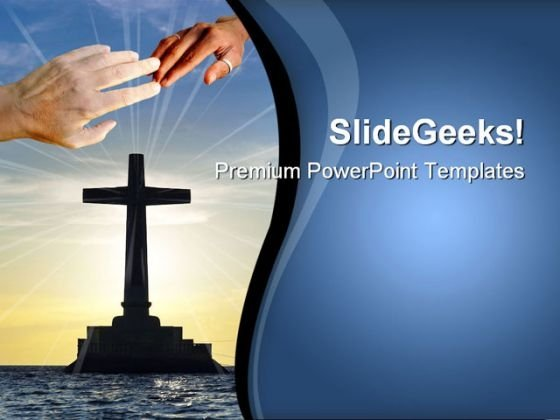 Tropical Sunset With Cross Religion PowerPoint Themes And PowerPoint Slides 0811