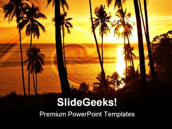 Tropical Sunset With Trees Nature PowerPoint Themes And PowerPoint Slides 0711