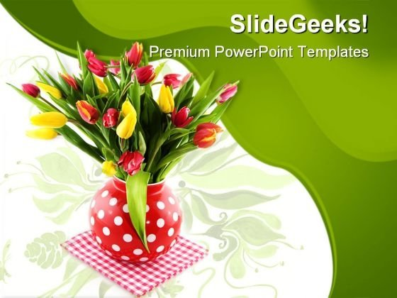 Tulips Pot Beauty PowerPoint Templates And PowerPoint Backgrounds 0611