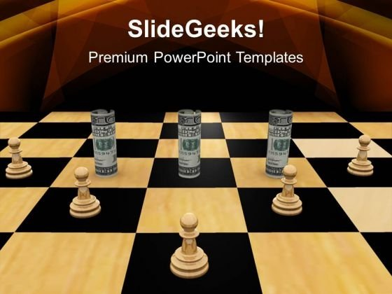 Twisted Dollars And Chess Pieces Strategy PowerPoint Templates And PowerPoint Themes 1112