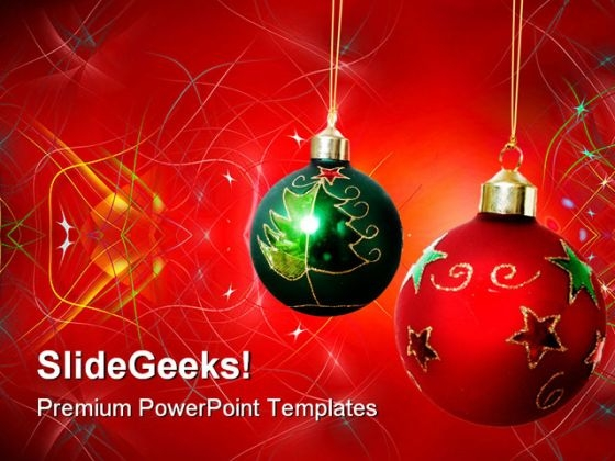 Two Christmas Balls Festival PowerPoint Themes And PowerPoint Slides 0511