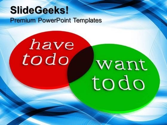 Two Circles Comparing The Things You Want To Do PowerPoint Templates And PowerPoint Themes 0912