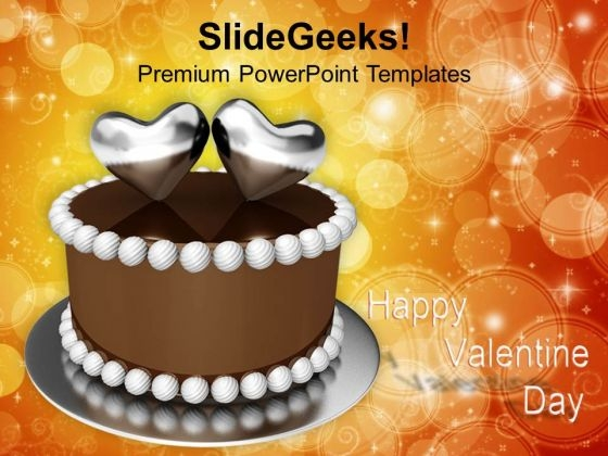 Two Love Hearts On Valentines Cake PowerPoint Templates Ppt Backgrounds For Slides 0213