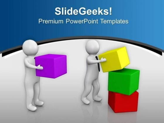 Two Men Working Together Teamwork PowerPoint Templates Ppt Backgrounds For Slides 0713
