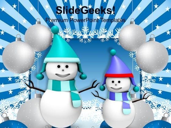Two Snowman Christmas Background PowerPoint Templates Ppt Backgrounds For Slides 1212
