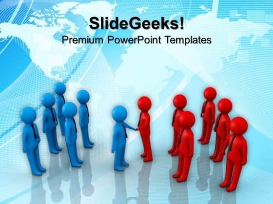 Two Team Shaking Hands PowerPoint Templates And PowerPoint Themes 1112