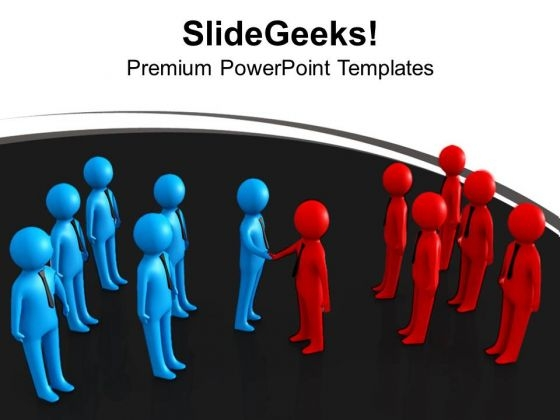 Two Teams People Shaking Hands PowerPoint Templates Ppt Backgrounds For Slides 0213