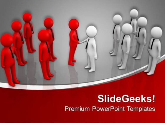 Two Teams Shaking Hands Business Deal PowerPoint Templates Ppt Backgrounds For Slides 0313
