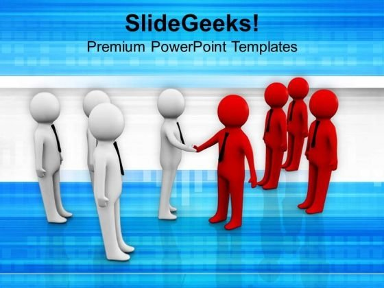 Two Teams Shaking Hands Business PowerPoint Templates Ppt Backgrounds For Slides 0213