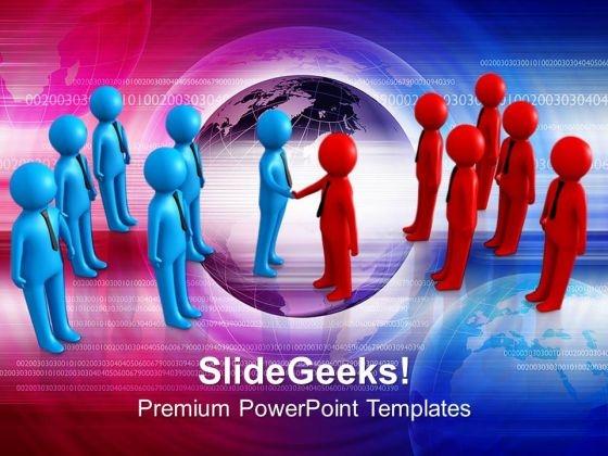 Two Teams Shaking Hands Global Business PowerPoint Templates Ppt Backgrounds For Slides 0113