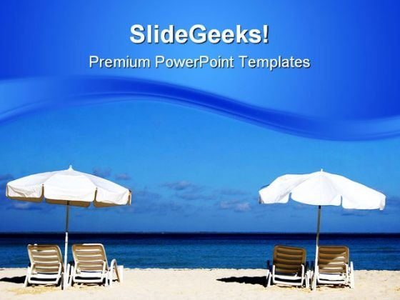 Two White Umbrellas Beach PowerPoint Templates And PowerPoint Backgrounds 0811