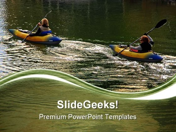 Two Women Kayakers Lifestyle PowerPoint Themes And PowerPoint Slides 0611