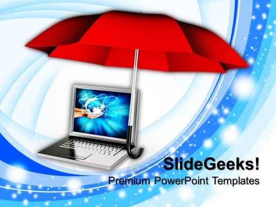 Umbrella With Laptop PowerPoint Templates And PowerPoint Themes 1012