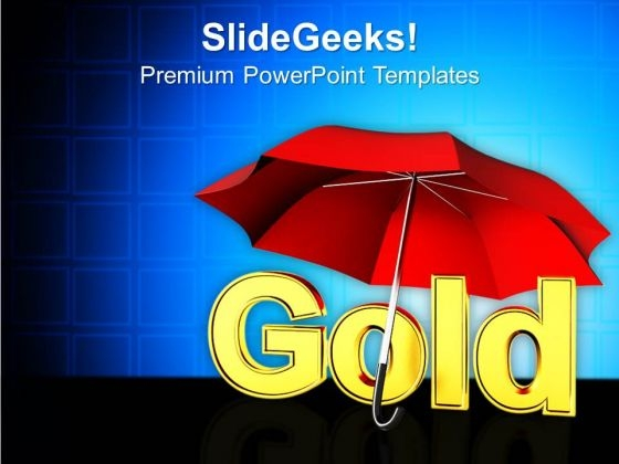 Umbrella With Word Gold Finance PowerPoint Templates And PowerPoint Themes 1112