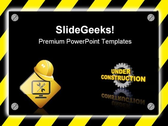 Under Construction Signpost Metaphor PowerPoint Templates And PowerPoint Backgrounds 0811