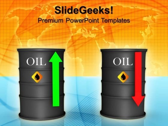 Upwards And Downwards Oil Prices Industrial PowerPoint Templates And PowerPoint Themes 0912