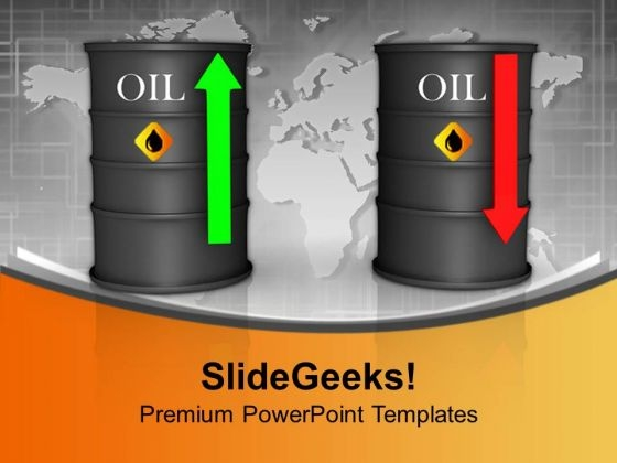 Upwards And Downwards Oil Prices Petroleum Finance PowerPoint Templates And PowerPoint Themes 1112