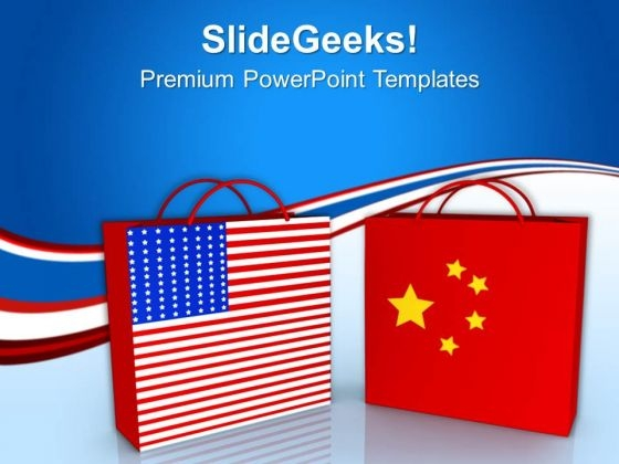 Usa And China Shopping Bags Sales PowerPoint Templates Ppt Backgrounds For Slides 0213