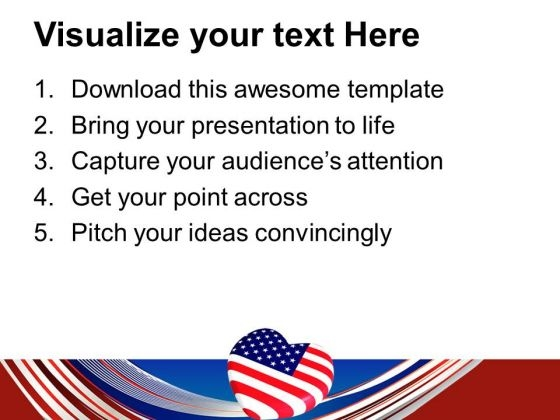 Usa Flag With Heart Americana Point Templates And Themes 0712 Print