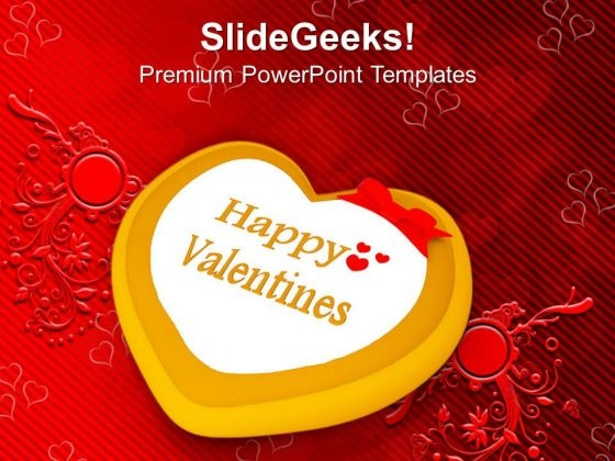 Valentine Cake Decorated Heart Occasion PowerPoint Templates Ppt Backgrounds For Slides 0213