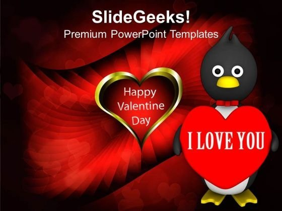 Valentine Penguin Isolated Winter PowerPoint Templates Ppt Backgrounds For Slides 0213