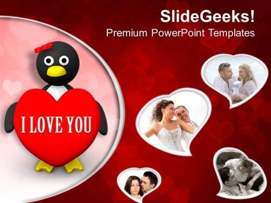 Valentine Penguin Wedding Romance PowerPoint Templates Ppt Backgrounds For Slides 0213